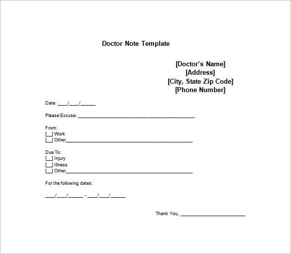 Elegant Doctor Note Templates For Work U2013 8+ Free Word, Excel, PDF Download!