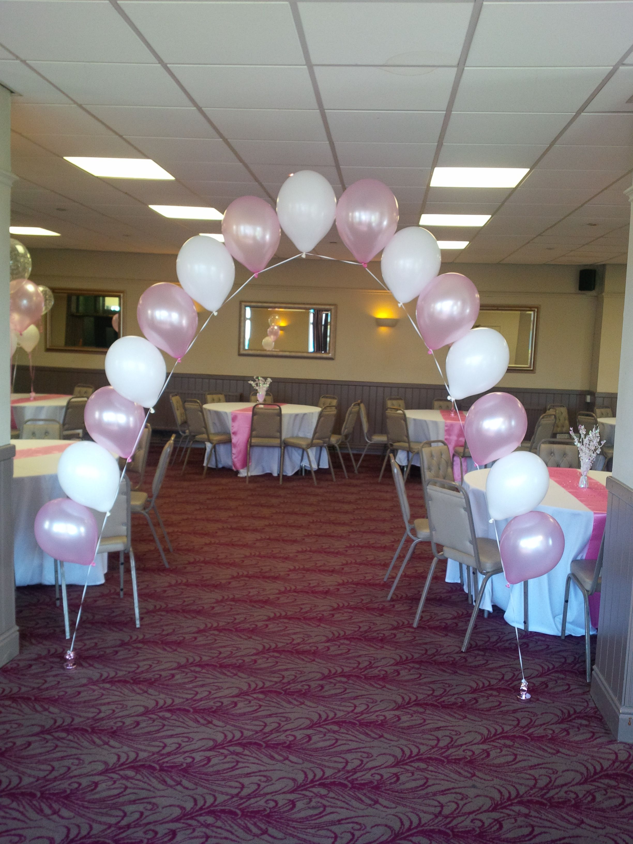 Balloon Arch  Pink & White Entrance To Function Suite