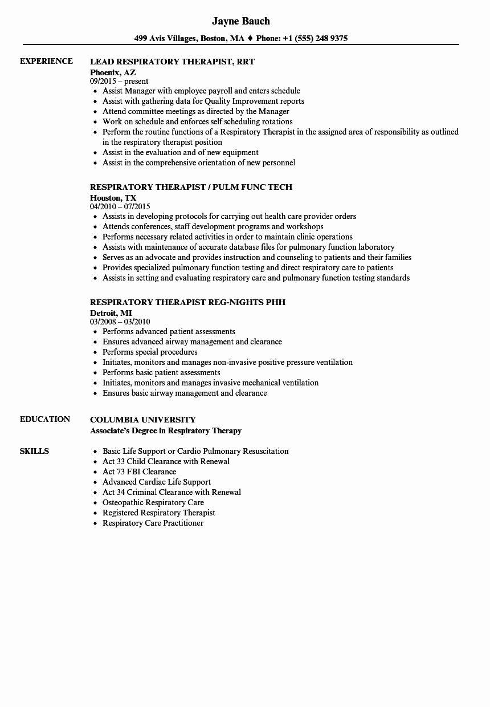 Respiratory therapist Resume Template Beautiful therapist
