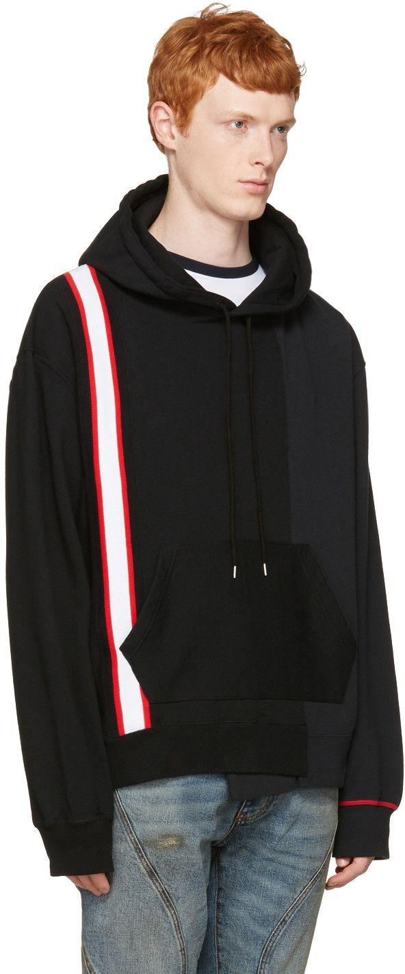 64547cd4fa70c 710€ Facetasm - Pull à capuche noir Stripe Band   Sweatshirt ...