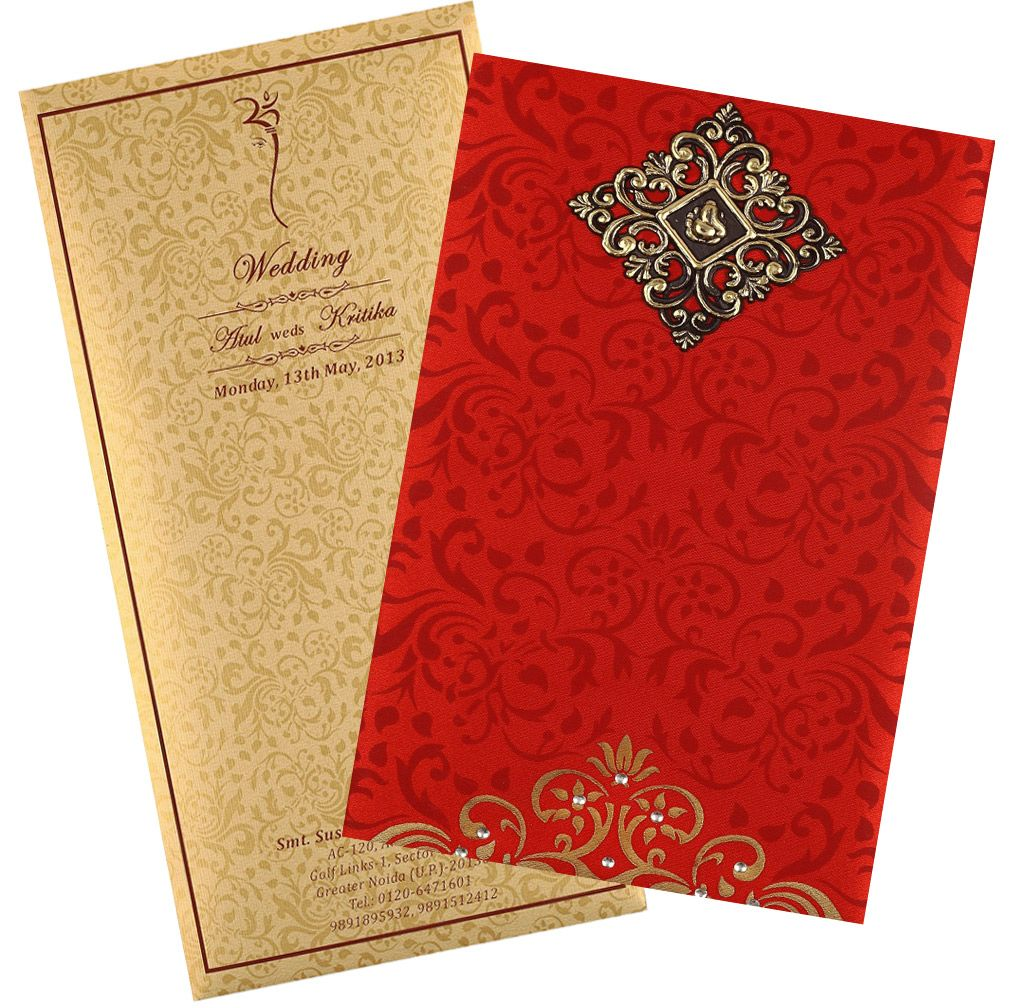 Wedding Card in Elegant Gift-style with Red & Golden Satin | Royal ...