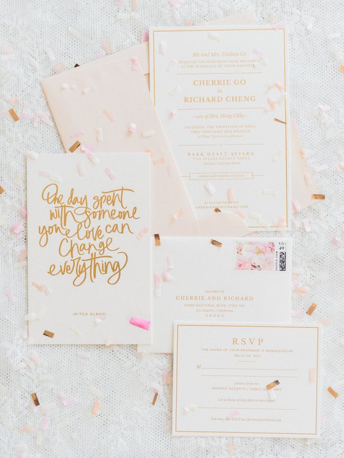 This Confetti Filled Fete is Everything | Wedding invitation paper ...