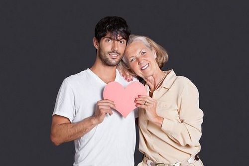 Old woman dating younger man