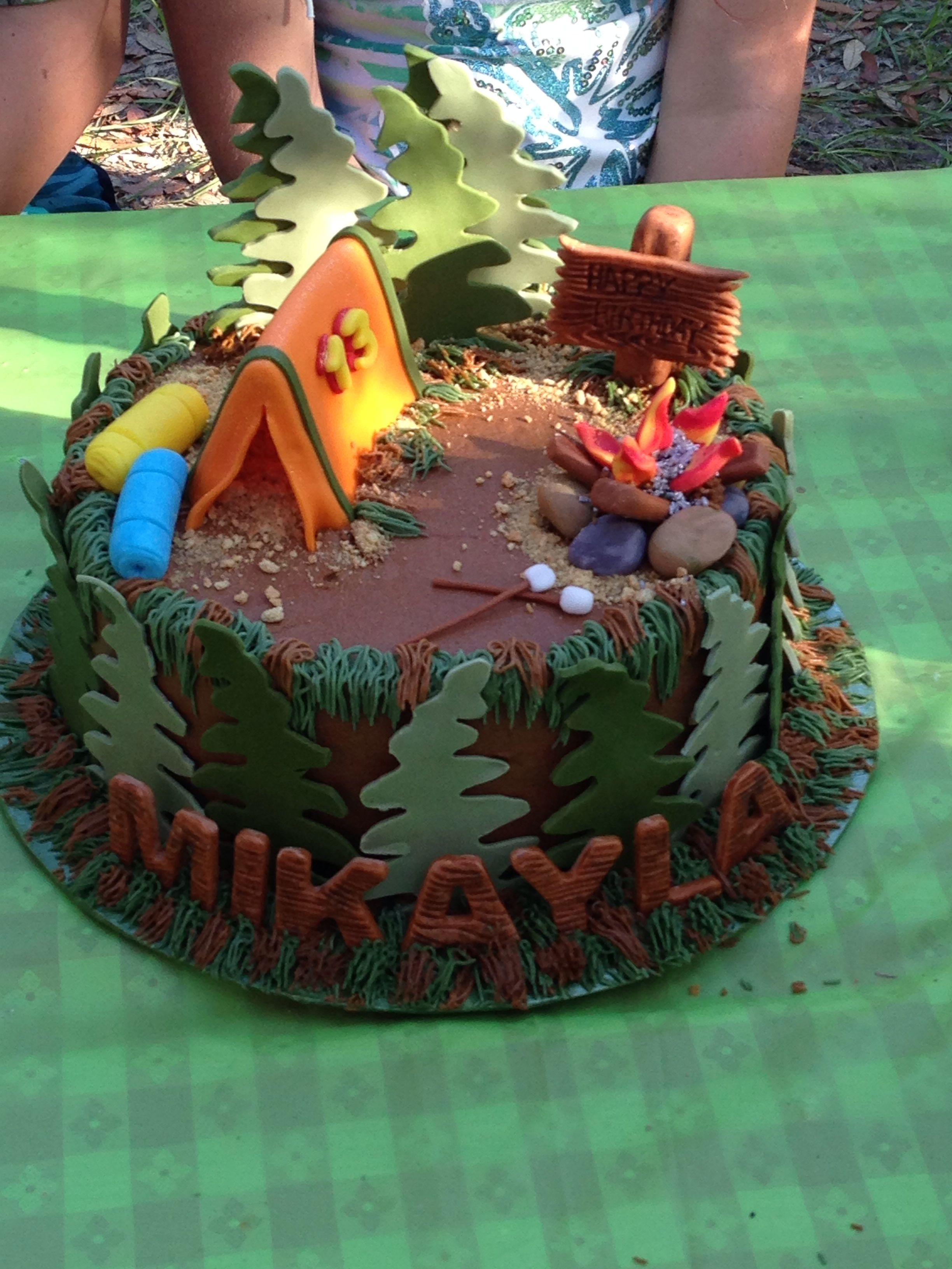 Wondrous Camping Cake Camping Birthday Cake Camping Cakes Funny Birthday Cards Online Bapapcheapnameinfo
