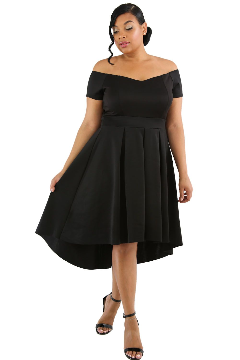 Black Plus Size Off Shoulder Swing Dress | swing dress | Dresses ...
