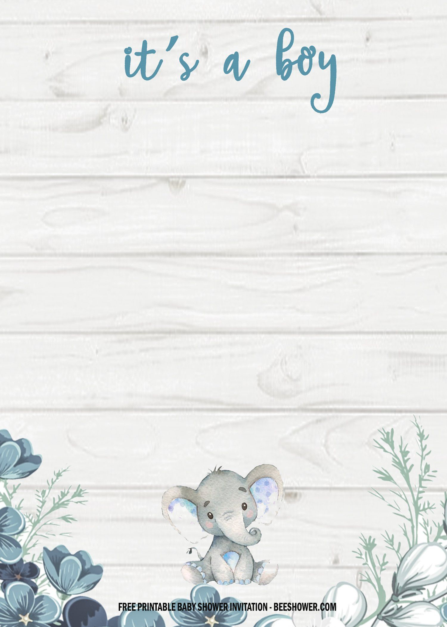 6 Free Blue Elephant Themed Birthday And Baby Shower Invitation