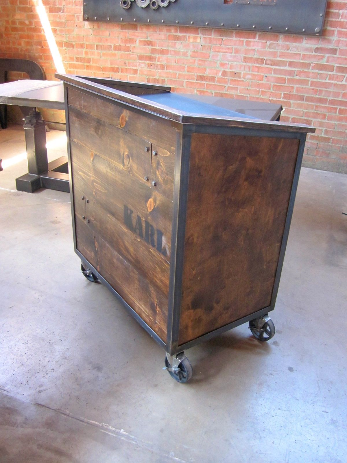 Factory caster vintage industrial furniture - Karl Hostess Stand With Dark Stain Pine Sides And Stenciled Back Locking Casters And Drawer Cubbies Model For More Info Visit The Hostess Stand Product