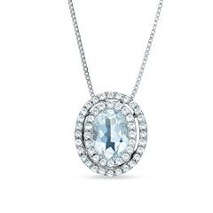 Oval Aquamarine Pendant In 14k White Gold With Diamond