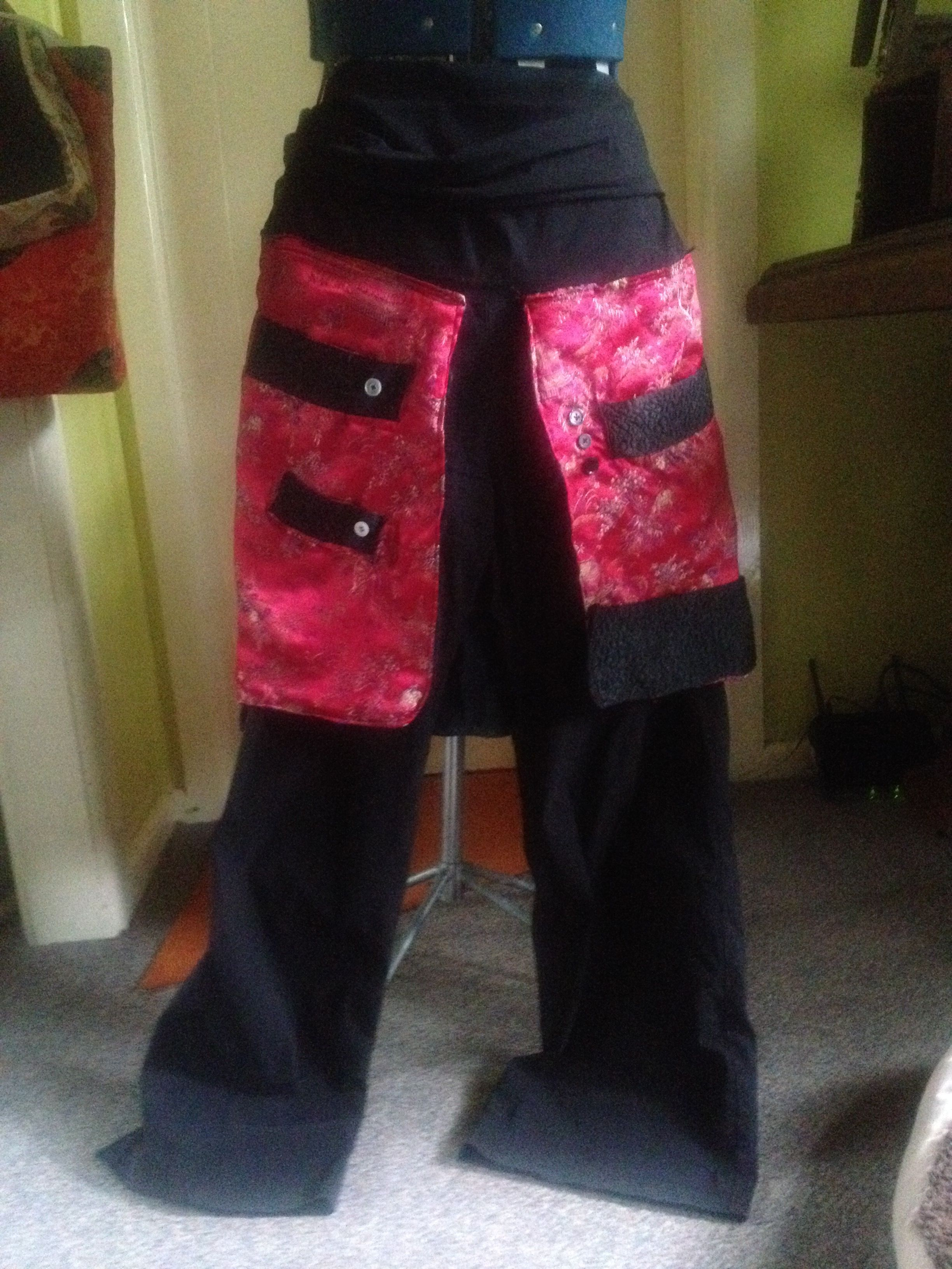 Up-cycled from a tatty old Chinese dressing gown and favourite flares....