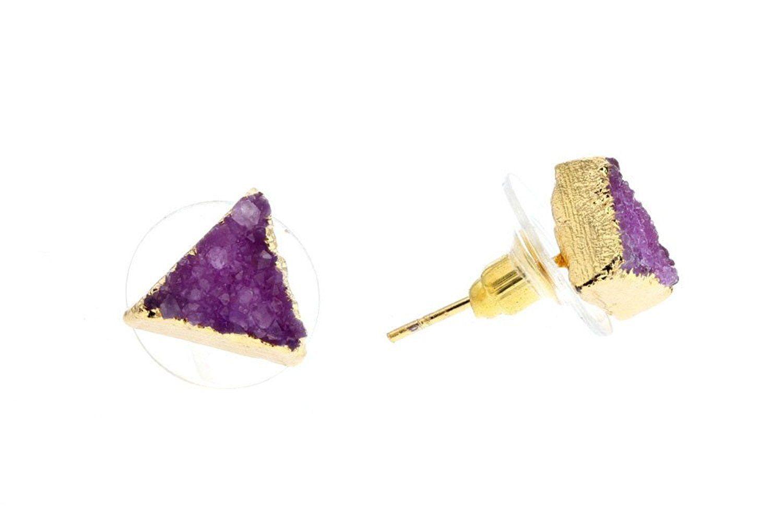 Violet & Virtue Women's Gold Post Druzy Triangle Earrings