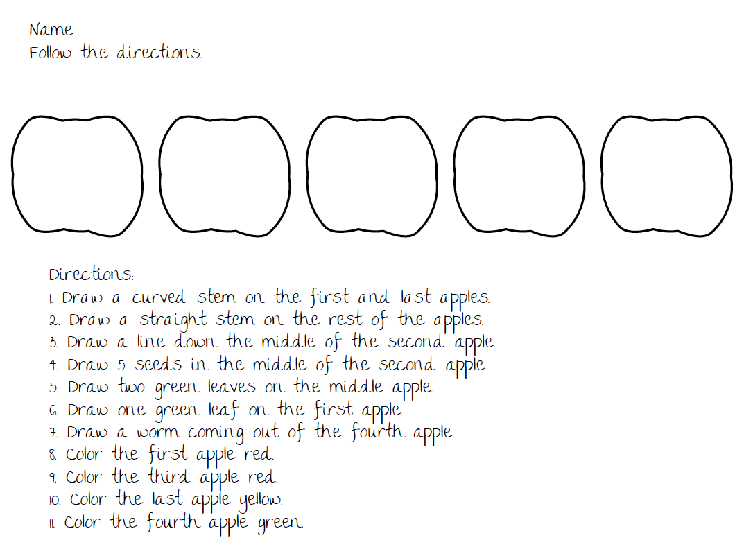Worksheets Following Directions Worksheet Middle School easy lesson on following directions this could fit into any part of the day