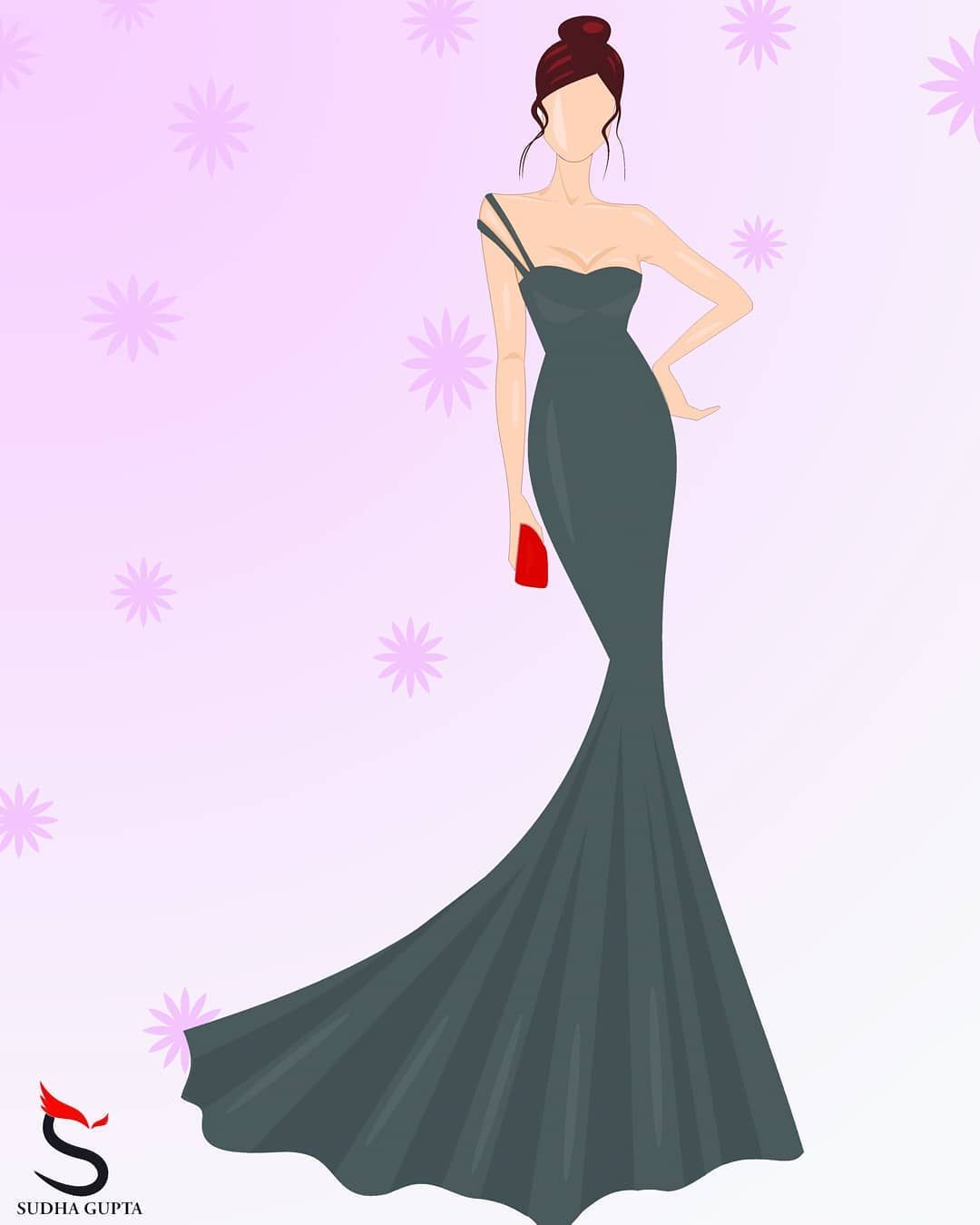 My First Fashionillustration On Coreldraw Coreldrawx7 Greydress Partywear Srgillustrations Fashiondesigner Fashion Design Fashion Illustration Partywear
