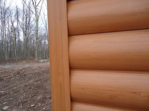 Up Close View Of Timbermill Siding Log Profile Looks Just Like Real Wood But Its Actually Vinyl Log Cabin Vinyl Siding House Exterior Cottage Exterior