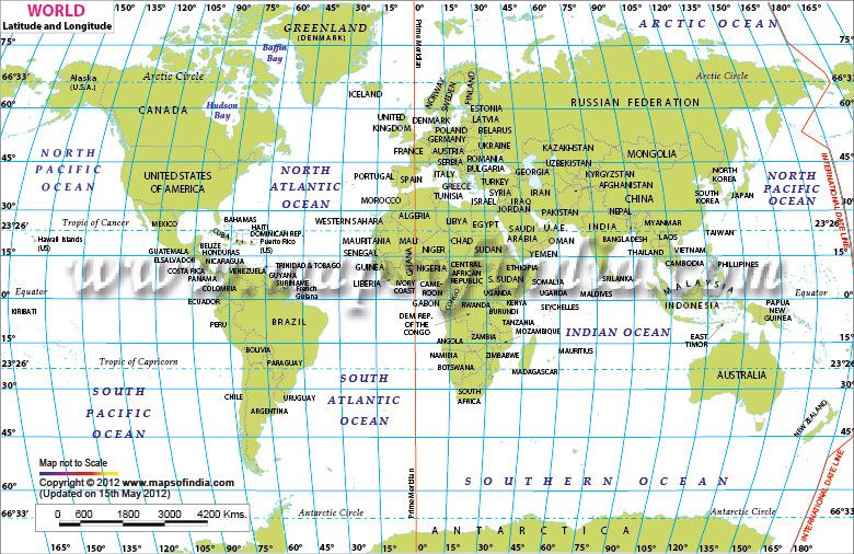 Asian map with latitudes and longitudes