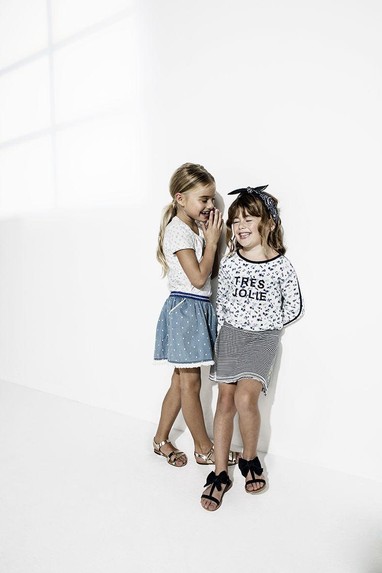 T-shirt Pipa & Skirt Pipa | Longsleeve Pipa & Skirt Pipa | Noppies kids spring/summer 2016 collection | #kidswear #girlswear #girlsskirts #denimskirts #stripedskirts #tresjolie #summerfashion #coolgirls #girlsfriends #dots #girlsoutfit #springsummer #ss16 #noppies