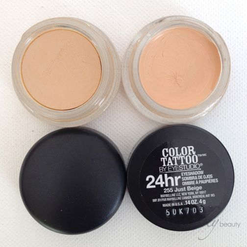 Mac Paint Pot In Soft Ochre L Compared To Maybelline Color Tattoo Just Beige R