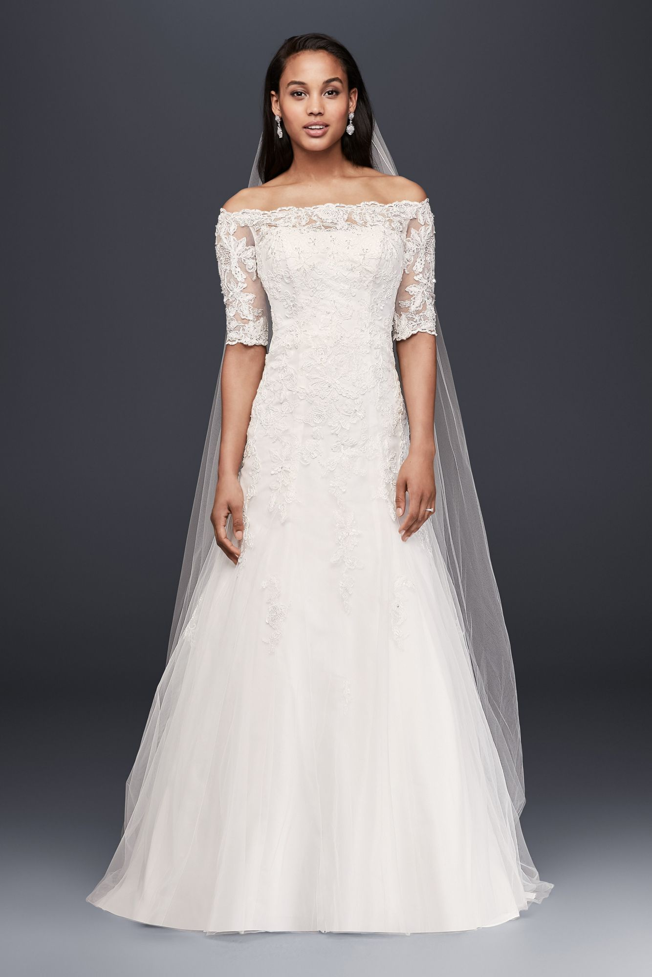 Extra length off the shoulder xlwg style lace wedding dress