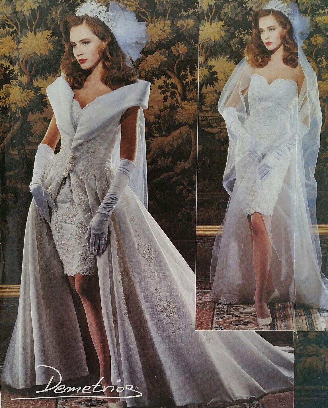 Demetrios 20, short and long dress showing with veil.   Wedding ...