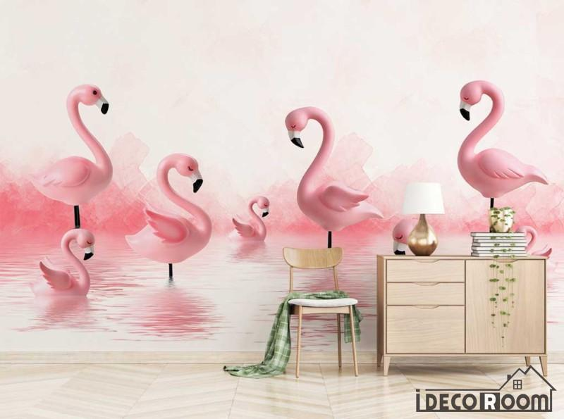 Modern Minimalist 3D Flamingo wallpaper wall murals IDCWP