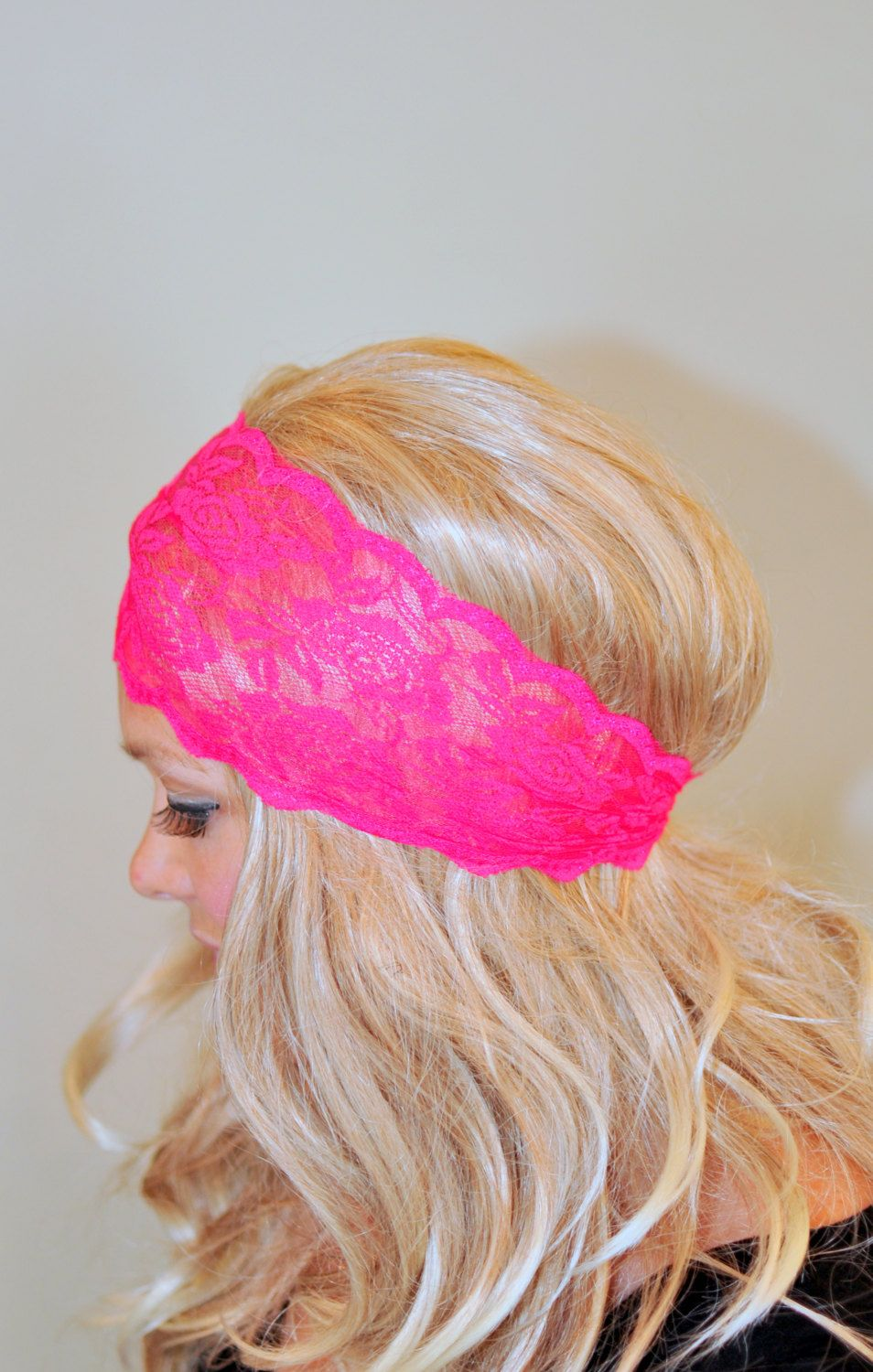 Lace Headband Pink Bright Neon Adult Headband Hot Pink Stretch Wide ... 7eee00d5394