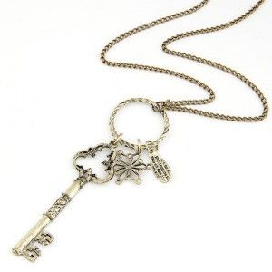 Vintage Fashion Hollow Key and Flower Pendants Long Costume Necklace