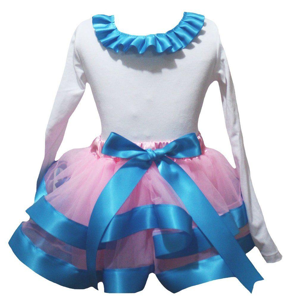 Petitebella Happy Easter Egg Pink Shirt Blue Pink Dots Ribbon Petal Skirt Nb-8y