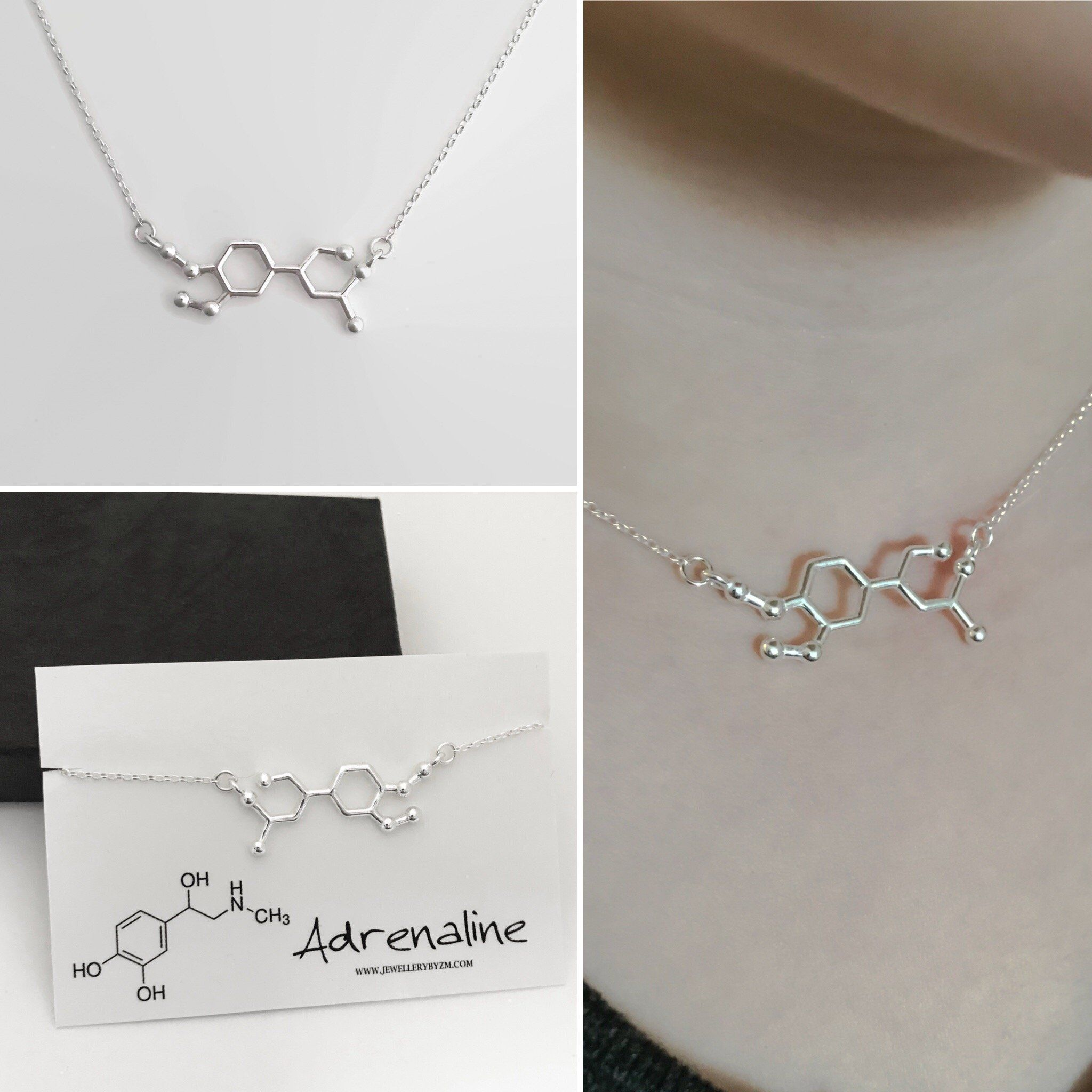 UK Silver 3D Double Helix DNA Strand Science Chemistry Chain Necklace
