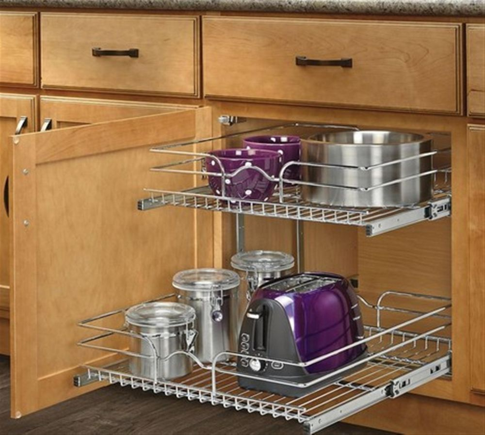 Delicieux 2 Tier Metal Pull Out Cabinet Basket Organizer 20.75 In W X 22.06