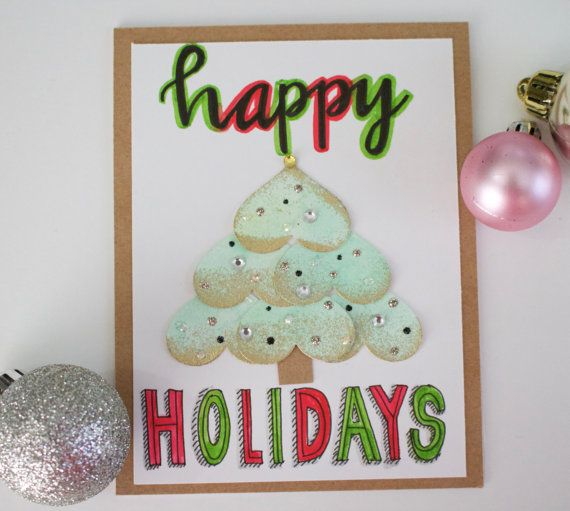 Handmade Fun Christmas Tree Card Greeting by TheCurrentSentiment