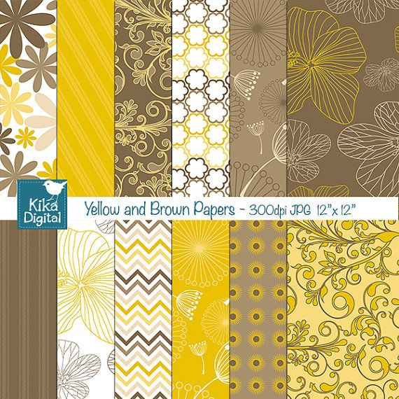Yellow and Brown Digital Papers  Scrapbooking card by kikaesteves, $4.00