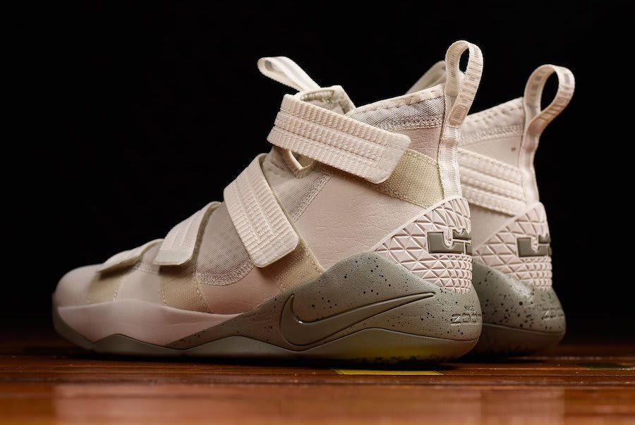 5a18a2439c8 Nike LeBron Soldier 11 Light Bone Dark Stucco Release Date Back 897646-005