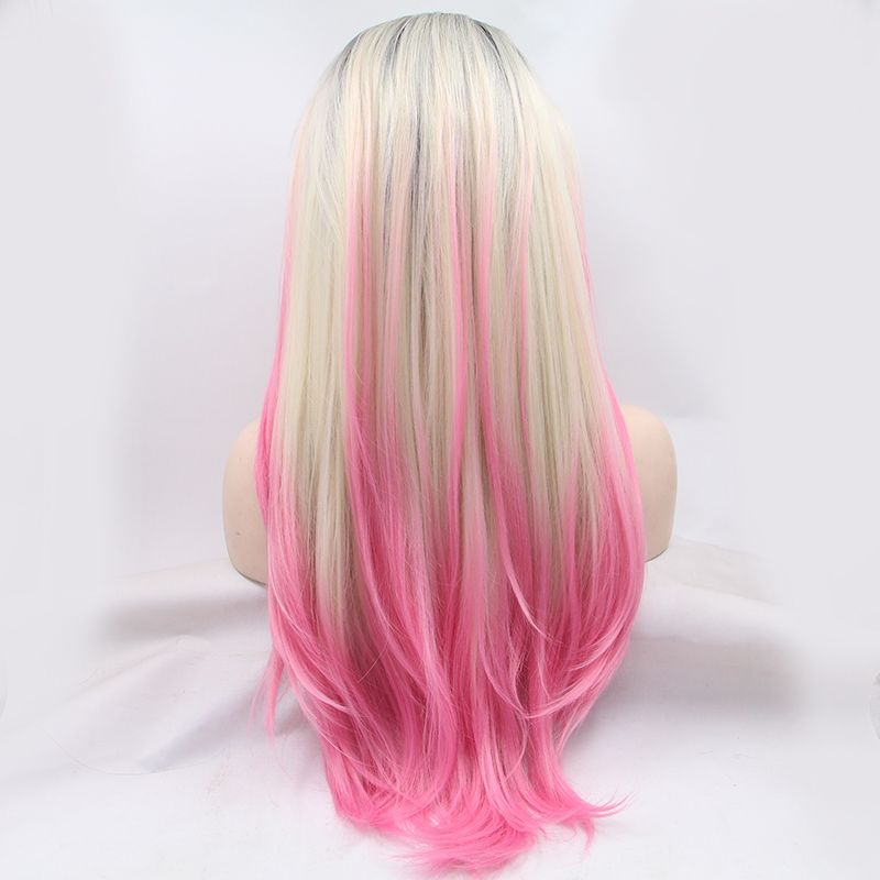 Hot Sale Fashion Glueless Lace Front Wigs Hair Gradient Black Blonde Pink Ombre Color Silk Straight Jpg 800 800 Front Hair Styles Hair Styles Pink Blonde Hair
