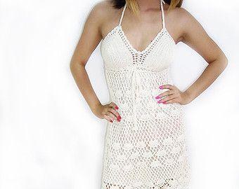 White Crochet Dress Handmade Boho Fashion Pregnant Beach Elegant Comfortable (DR001-W)