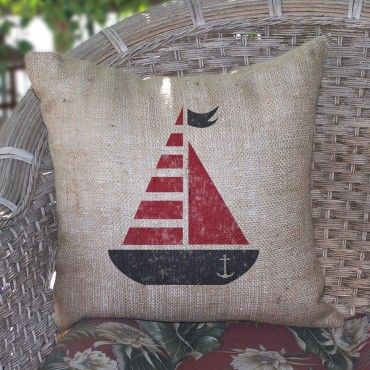Red Whimsical Sailboat Burlap Pillow $59.99