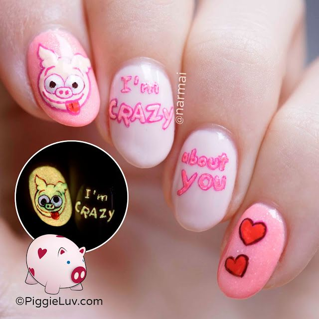 Crazy eyes pig nail art for Valentine\'s Day | Eye, Pig nail art and ...