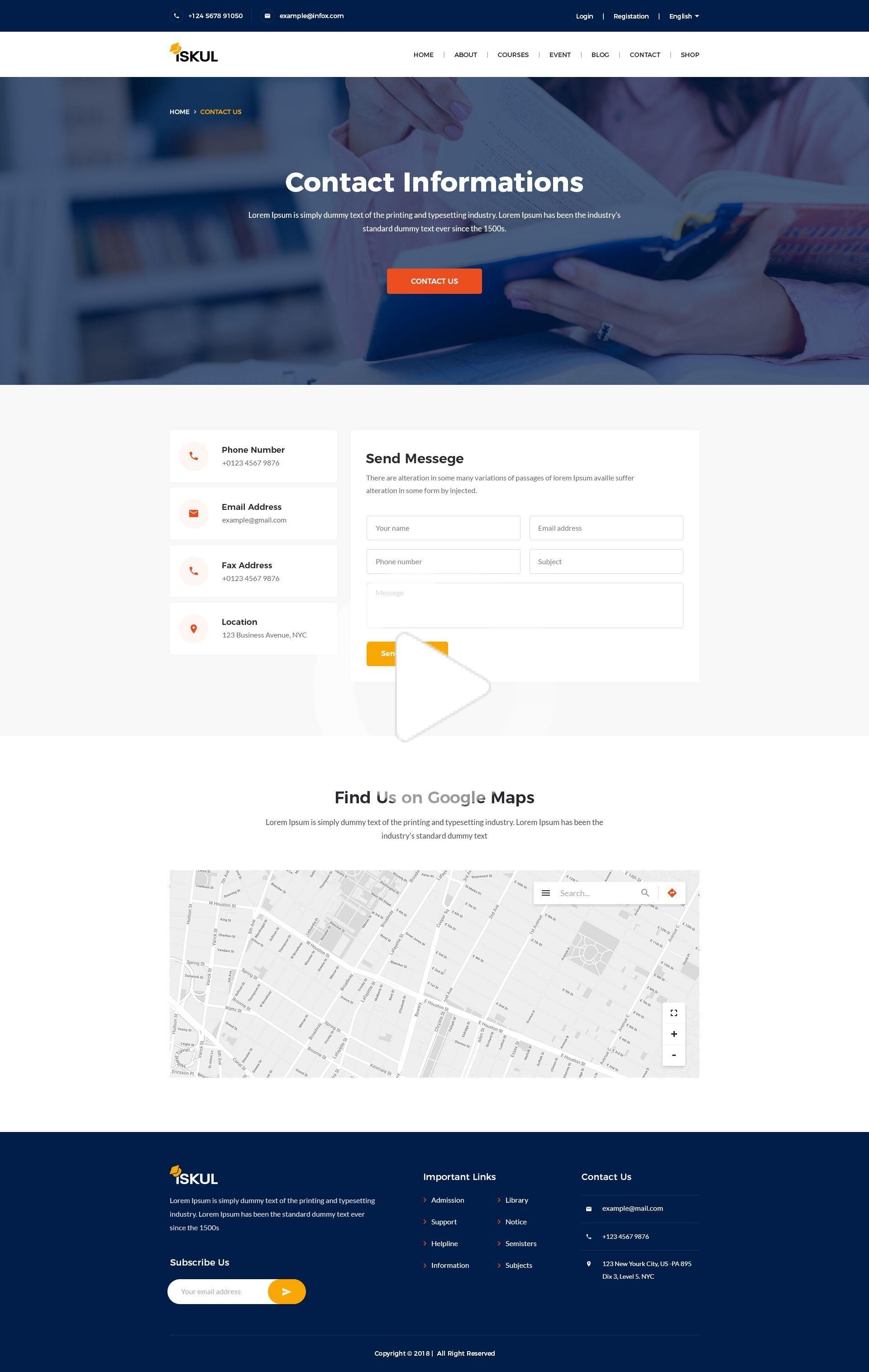 Contact Page 1 Google Maps Form Contact Detail In 2020 Web Design Inspiration Contact Us Page Design Web Design