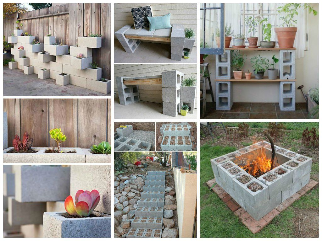 Cinder blocks are a cheap material for the garden and with some imagination, you can use them to create garden planters, a fire pit, benches or even steps.
