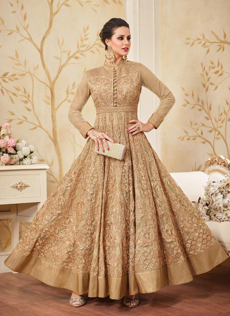 31f984dbd298 Beige Net Embroidered Anarkali Suit features a gorgeous beige net anarkali  alongside a santoon inner and bottom. A chiffon dupatta completes the look.