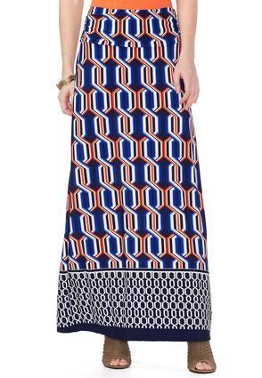 Cato Fashions Chain Border Print Maxi Skirt-Plus  #CatoFashions