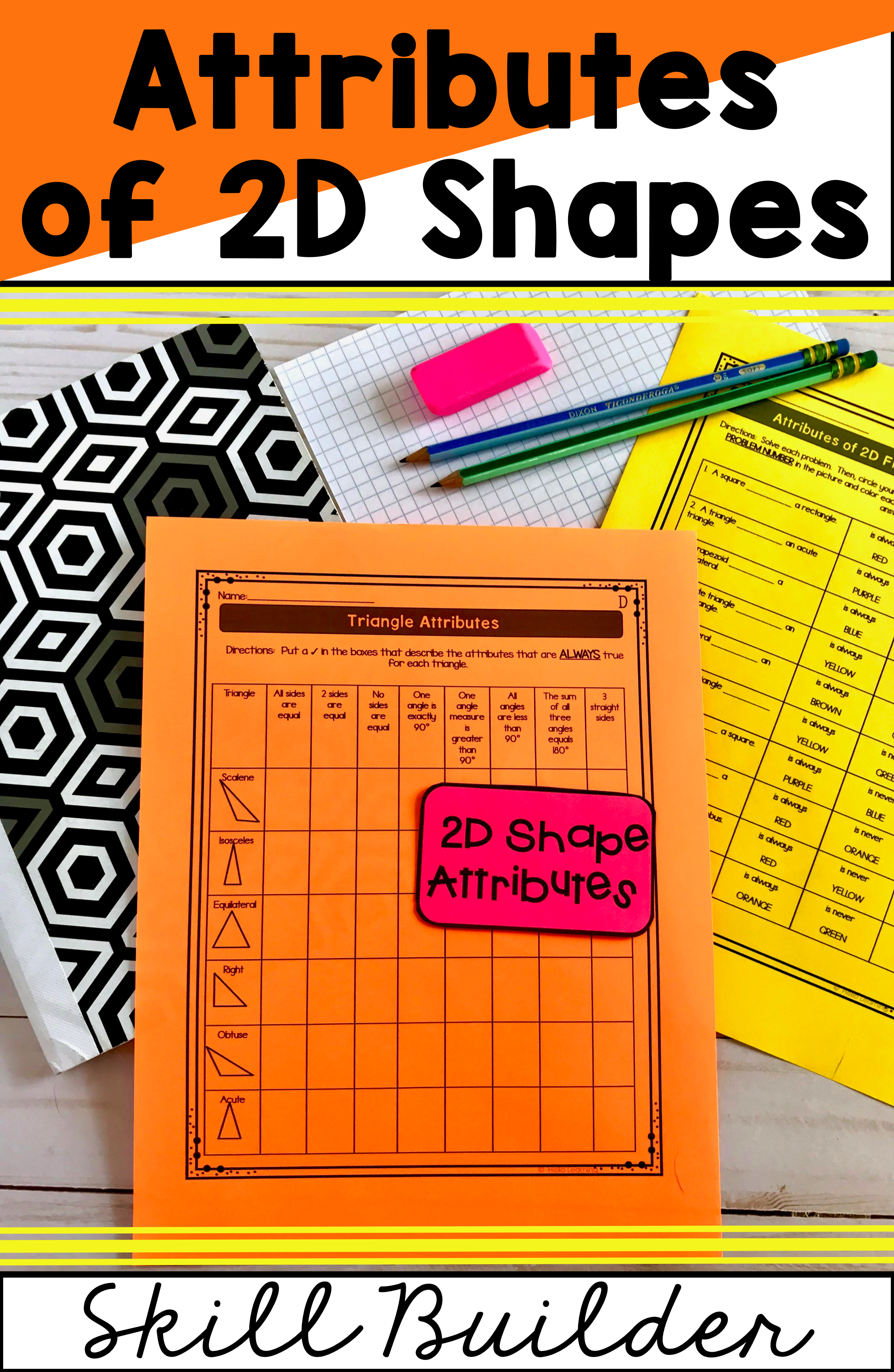 hight resolution of Attributes of 2D Shapes   Math centers
