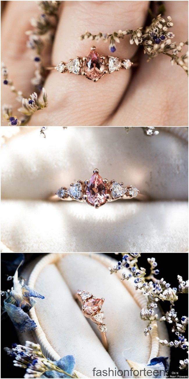 Melocotón pera zafiro racimo cinco anillo de compromiso de piedra # anillos # marrón # boda …