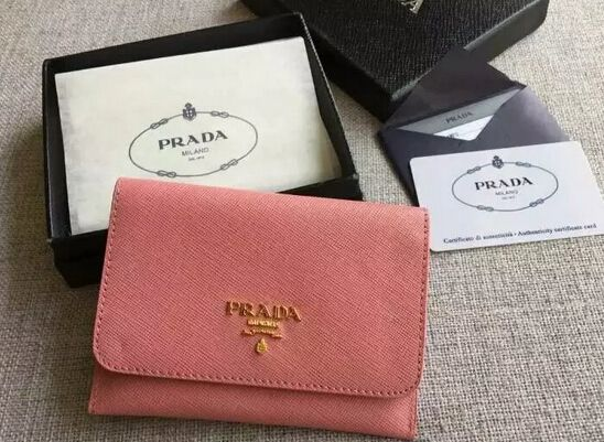 S/S 2016 Prada Wallet Cheap Sale Online-Prada Pink Saffiano Leather Credit Card Holder