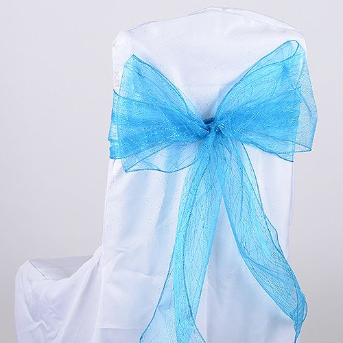 Glitter Organza Chair Sash Turquoise Pack Of 10 Pieces 8 Inches X 108 Bbcrafts Has Quality Tulle Fabrics Ribbons Wedding Supplies