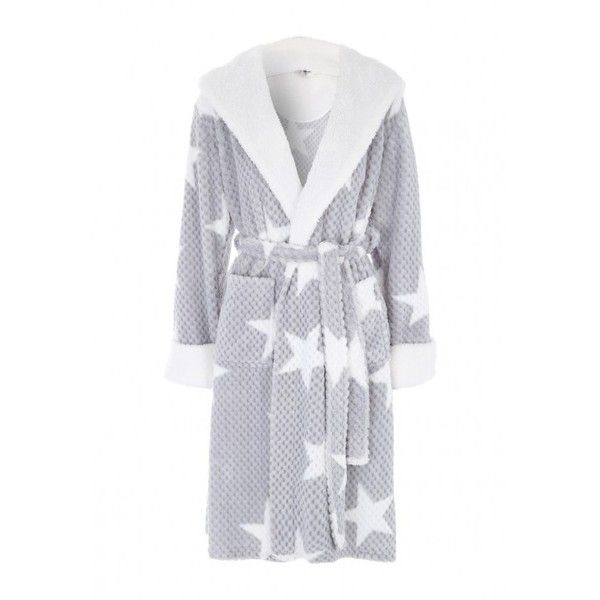 Womens Grey Star Dressing Gown (1,220 INR) ❤ liked on Polyvore ...