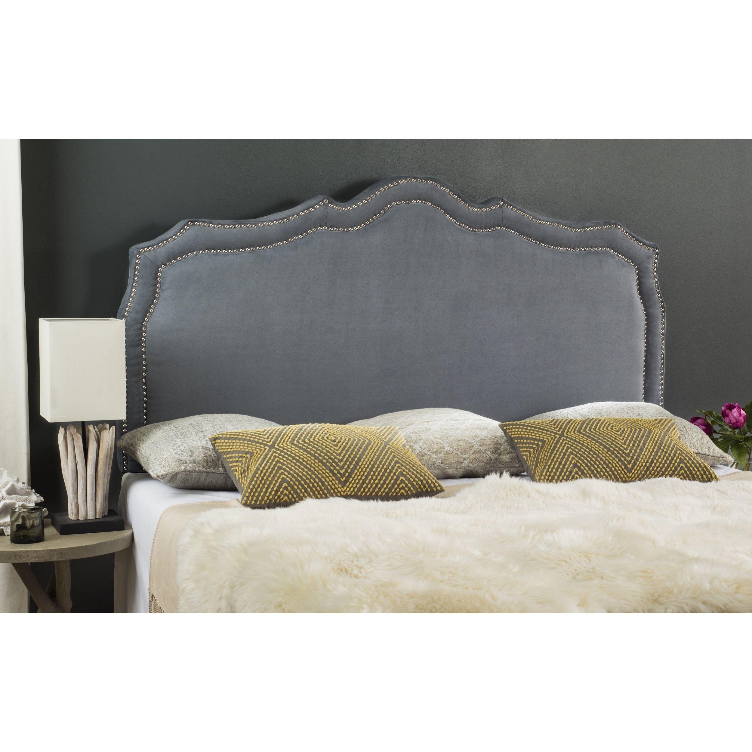 Safavieh Skyler Grey Velvet Upholstered Headboard - Silver Nailhead (Queen)  (MCR4004C-Q