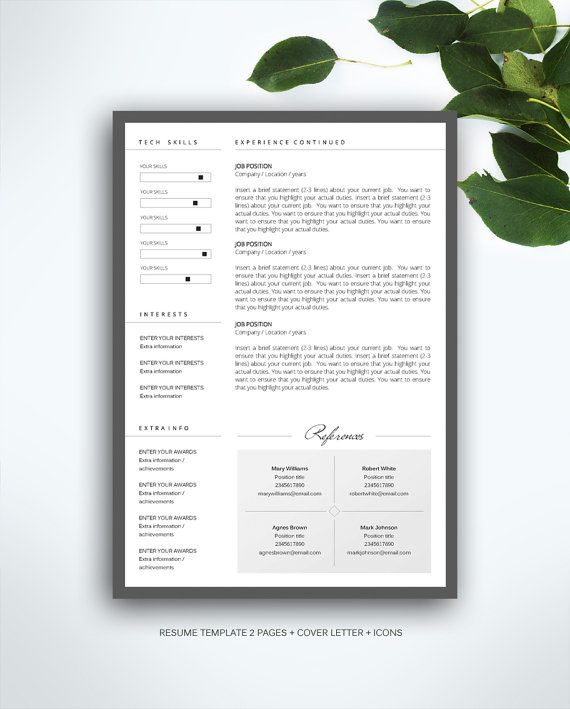 resume template 3 page    cv template   cover letter    instant download for ms word     u0026quot susan
