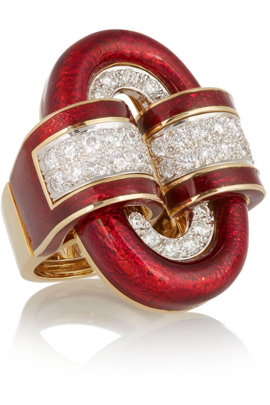 David Webb | 18-karat gold, platinum, diamond and enamel ring.