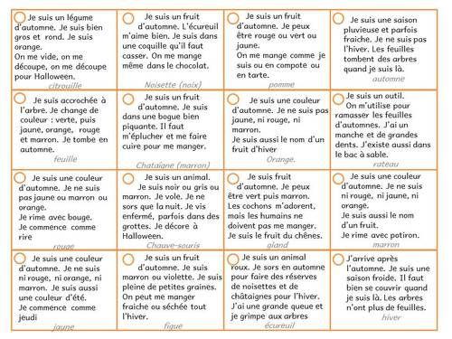 Assez Devinettes pour inférences GS thème automne | Maternelle  KZ49