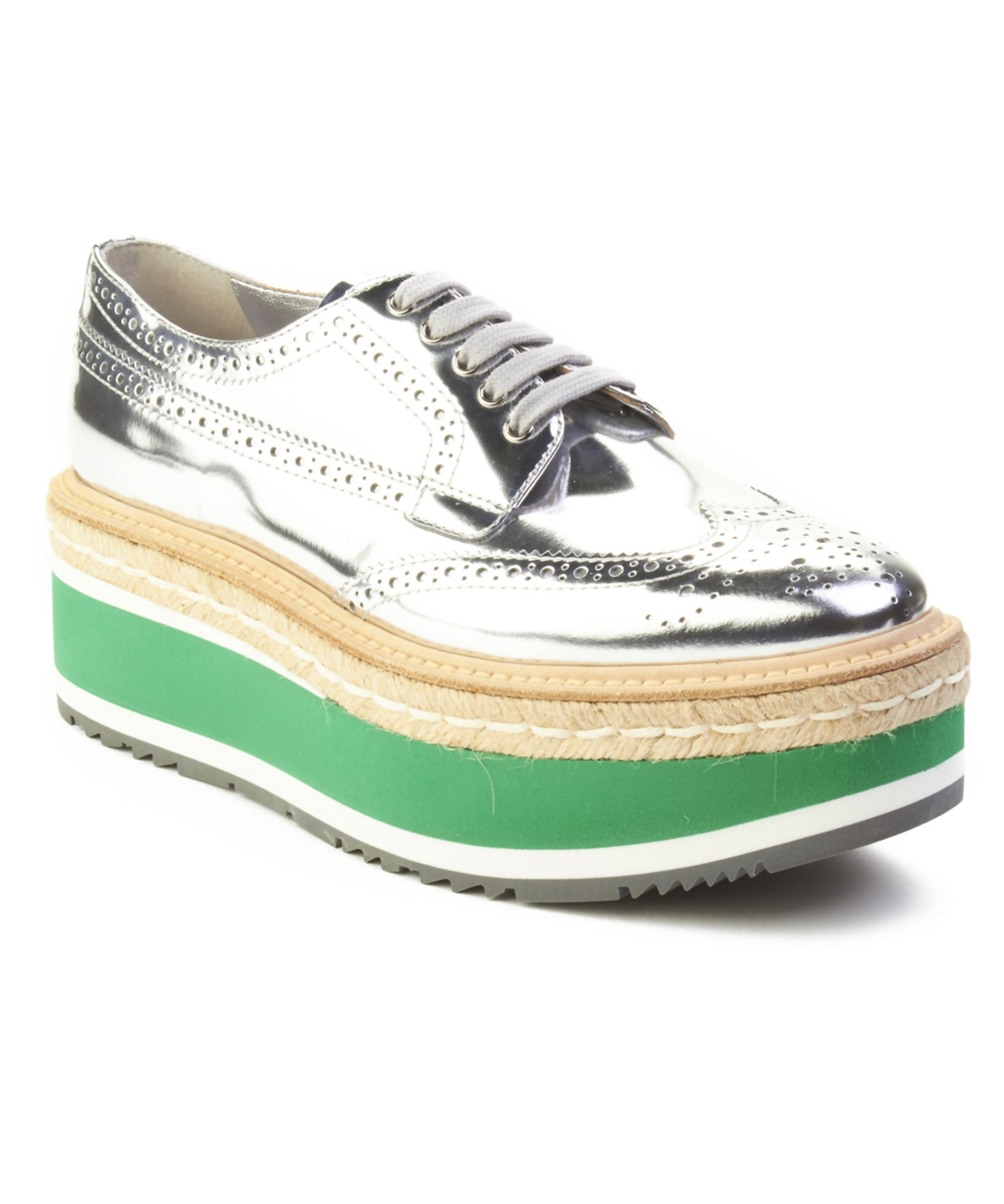 PRADA | Prada Women's Leather Platform Derby Shoes Silver #Shoes #Sneakers  #PRADA