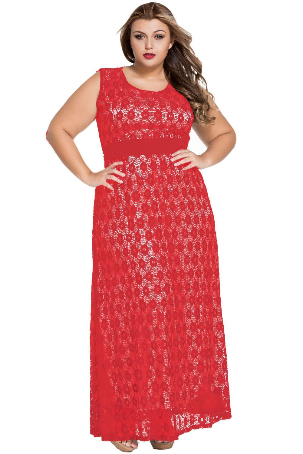 Red flowery lace overlay belted curvy maxi dress products
